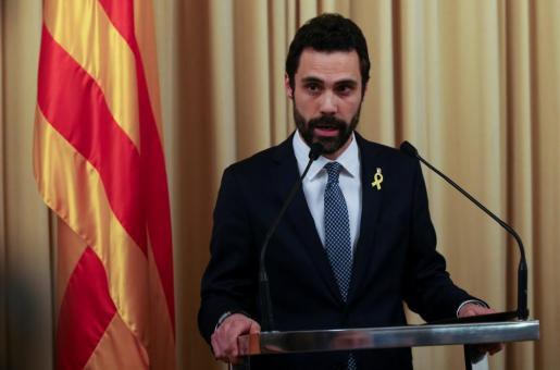 Roger Torrent durante su intervención en el Parlament catalán.