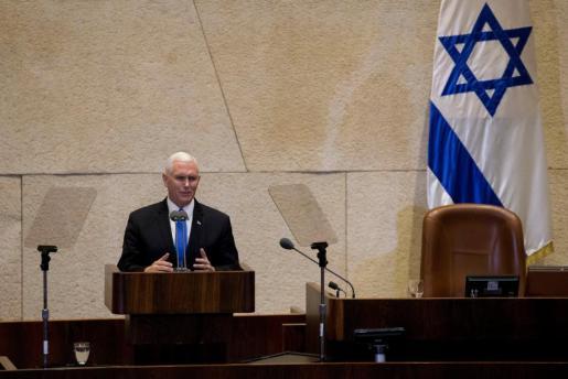 El vicepresidente de los Estados Unidos, Mike Pence, pronuncia un discurso ante el Parlamento israelí en Jerusalén.