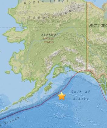 El epicentro del terremoto ha tenido lugar en pleno océano a casi 300 km. de la isla de Kodiak.