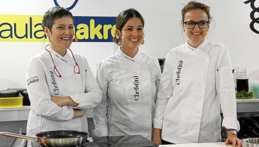 Las cocineras Silvia Anglada, Marta Rosselló y Marga Coll, durante su presencia en el Aula Makro de Madrid Fusión.