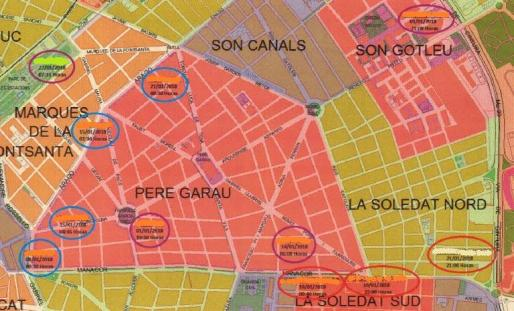 Mapa criminológico, facilitado por la Policía Nacional, del lugar de los hechos, en el cual figuran los 7 nuevos hechos que se le imputan y los cuatro (con circulo azul) por los que fue detenido en las tres ocasiones anteriores.