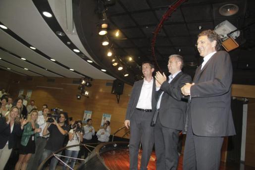Los candidatos de CxI a las principales instituciones de las islas, durante el mitin celebrado hoy en Palma.