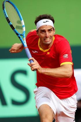 El español Albert Ramos durante el cuarto partido de la eliminatoria de primera ronda del Grupo Mundial de la Copa Davis España-Gran Bretaña.