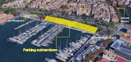 Zona del puerto de Palma en donde está previsto que se construya el nuevo aparcamiento subterráneo.