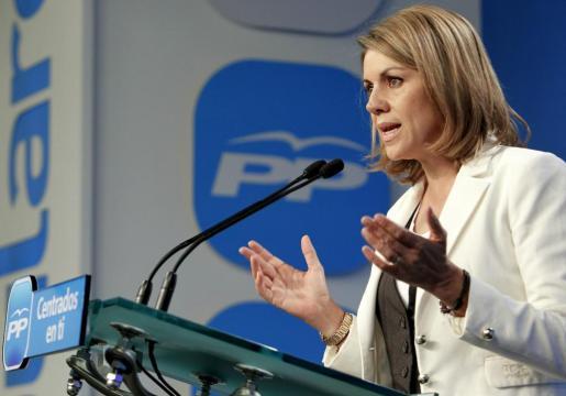 La secretaria general del PP, María Dolores de Cospedal, ofreció hoy una rueda de prensa en la sede del partido, en la que ha hecho un balance satisfactorio de los resultados obtenidos en las elecciones.