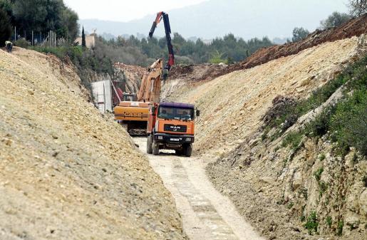 Imagen de las obras de reapertura del tren de Manacor hace unas semanas.