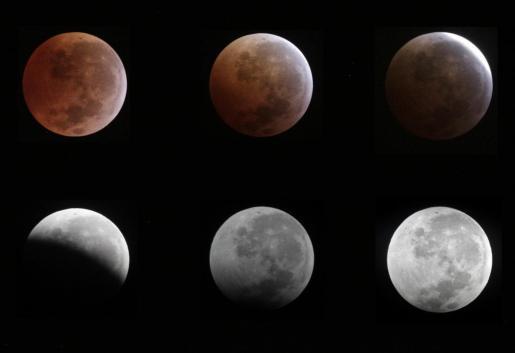 Toma de las diferentes fases de un eclipse lunar completo como el que se podrá ver desde las Islas.