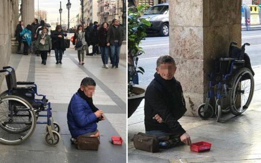 Imagen de un indigente discapacitado que hace dos días estaba en la calle Alcalá de Madrid (izquierda) y desde el pasado lunes pide limosna en Jaume III (derecha) de Palma.