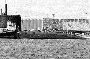 Imagen del submarino que permanecerá en la zona durante seis días aproximadamente.