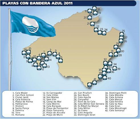 Las 42 playas con bandera azul de la isla se concentran principalmente en el suroeste, este y norte de Mallorca.
