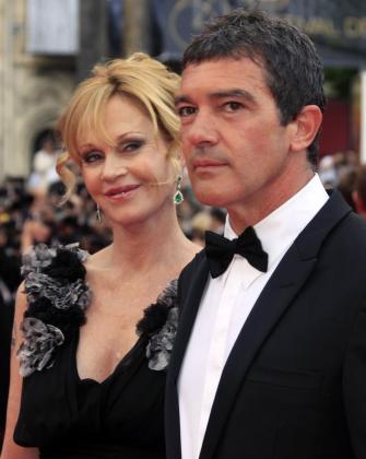 El actor Antonio Banderas y su mujer Melanie Griffith a su llegada al festival de cine de Cannes.