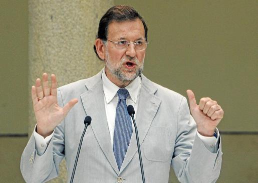 El presidente del Partido Popular, durante su intervención en un acto reciente en Santiago de Compostela.