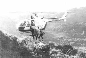 El helicóptero de la Guardia Civil buscó a los excursionistas.