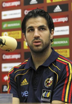 El jugador de la selección española de fútbol, Cesc Fábregas, durante una rueda de prensa.