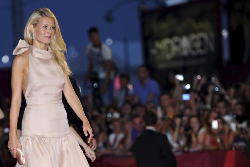 """La actriz estadounidense Gwyneth Paltrow llega al estreno de """"Contagion"""" durante el Festival de Cine de Venecia."""
