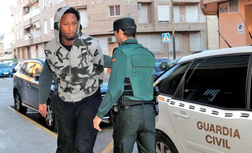 El jugador del Villarreal, Rubén Semedo, a su llegada esta mañana al juzgado número 6 de Lliria, Valencia.