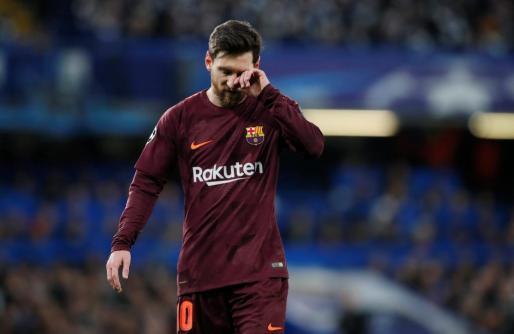 Imagen de Leo Messi durante el partido del F.C. Barcelona contra el Chelsea.