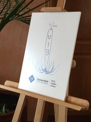 Logotipo diseñado por Miquel Barceló para conmemorar el 40 aniversario de la UIB.