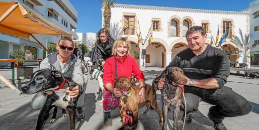 Perros de todos los tamaños, edades y razas desfilaron ayer ante el Ayuntamiento de Santa Eulària en una nueva jornada de adopción responsable.