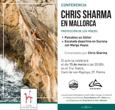 Cartel de la conferencia 'Chris Sharma en Mallorca' que organiza el Club Ultima Hora.