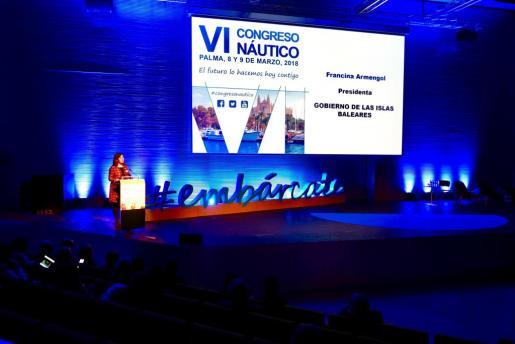 La presidenta del Govern, Francina Armengol, ha clausurado este viernes el VI Congreso Náutico en el Palacio de Congresos de Palma.