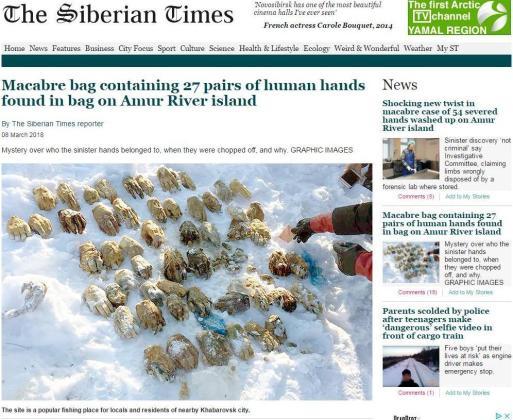 The Siberian Times informa del extraño hallazgo de los pares de mano.