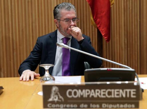 El ex secretario general del PP de Madrid Francisco Granados, momentos antes de su comparecencia en la comisión de investigación del Congreso sobre la supuesta financiación irregular del PP.