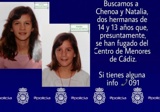La Policía Nacional ha emitido un aviso de búsqueda de Natalia y Chenoa, dos menores desaparecidas desde hace más de un mes.