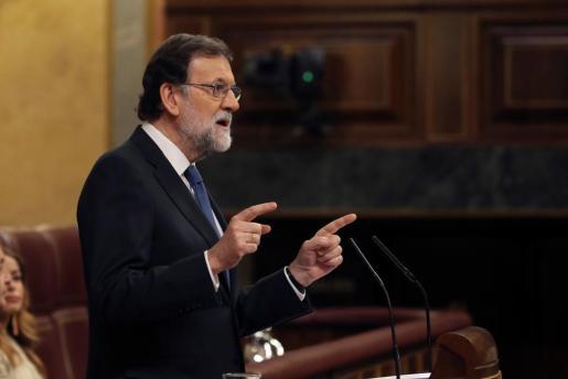 Rajoy, durante su discurso en el pleno del Congreso en el debate monográfico sobre pensiones.