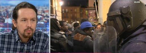 Iglesias, entrevistado en el programa de Antena 3, junto a imágenes de los disturbios que se originaron en Lavapiés tras el fallecimiento de un mantero.
