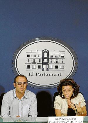 Barceló y Santiago, de PSM-IV-Entesa, ayer.