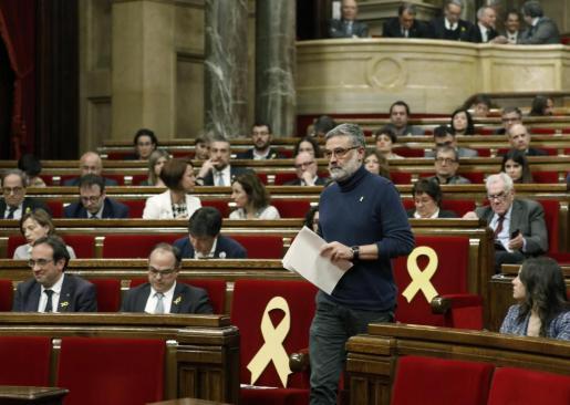El diputado de la CUP Carles Riera, durante el debate de investidura.