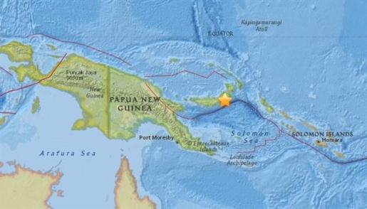 Registrado un terremoto de magnitud 7 en la costa este de Papúa Nueva Guinea