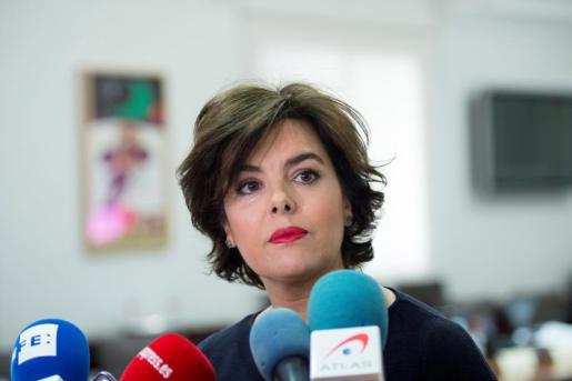 La vicepresidenta del Gobierno, tras la reunión de la comisión de subsecretarios.