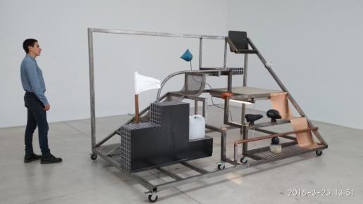 Objects and Audience, Bleacher Neïl Beloufa Lune Rouge (Ibiza, 2018)