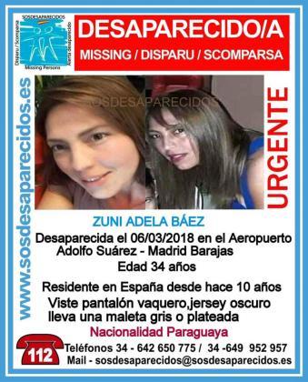Cartel difundido a raíz de la desaparición de Zuni Adela Báez.