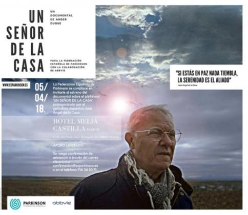 Imagen del periodista José Ángel de la Casa en el cartel del documental 'Un señor de la Casa' para concienciar sobre los efectos del Parkinson.