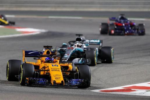 El español Fernando Alonso, durante el Gran Premio de Baréin de Fórmula 1.