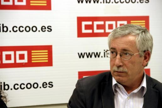 Ignacio Fernández Toxo, esta mañana, durante la rueda de prensa.