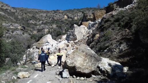 Geólogos del Institut Cartogràfic i Geològic de Catalunya y los Bombers de la Generalitat han comprobado la estabilidad de la vía.