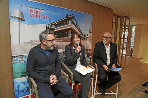 Rafel M. Creus, Isabel Teruel y Roberto Menéndez, en la presentación del Port Adriano Music Festival.