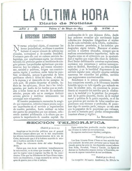 Primera portada de La Ultima Hora
