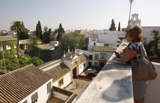 María Jesús enseña las vistas que tiene el ático de su casa frente al Palacio de Las Dueñas, donde hoy se celebrará el enlace entre Cayetana Fitz-James Stuart, duquesa de Alba y Alfonso Díez, y que ofrece para alquilar.