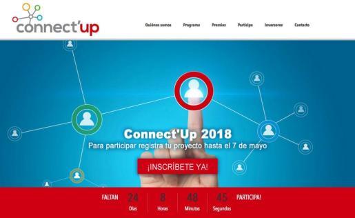 Entrada a la página web de Connect'Up, que este jueves empieza a operar para los interesados en el concurso.