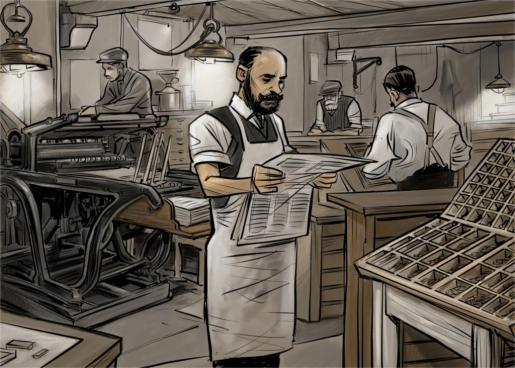 José Tous lee el primer ejemplar de 'La Última Hora' en su imprenta de la plaza de Cort. Aquel 1 de mayo de 1893 el joven editor no las tenía todas consigo.