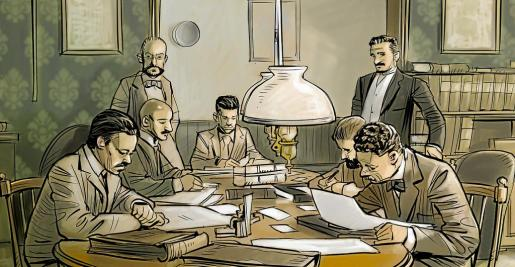 El primer equipo de periodistas de La Ultima Hora en la mesa de Redacción. De pie, el fundador, José Tous, y el administrador, Monserrate Barrera.