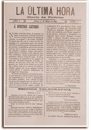Primer número de La Ultima Hora del 1 de mayo de 1893.