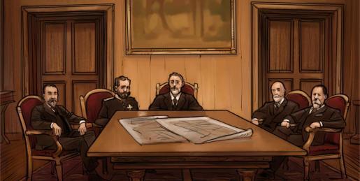 Maura,Weyler y otros próceres mallorquines sentados en torno a una mesa de la Diputación con los planos de la demolición de las murallas. Su idea era «modernizar» Palma.