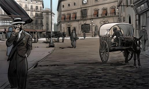 Ilustración de Zaca que recrea la Plaza de Cort a finales del siglo XIX.