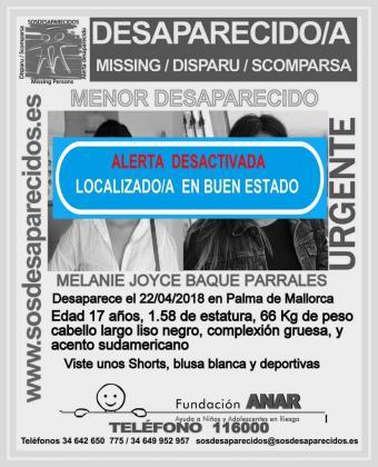 Localizada en buen estado una joven de 17 años desaparecida en Palma.